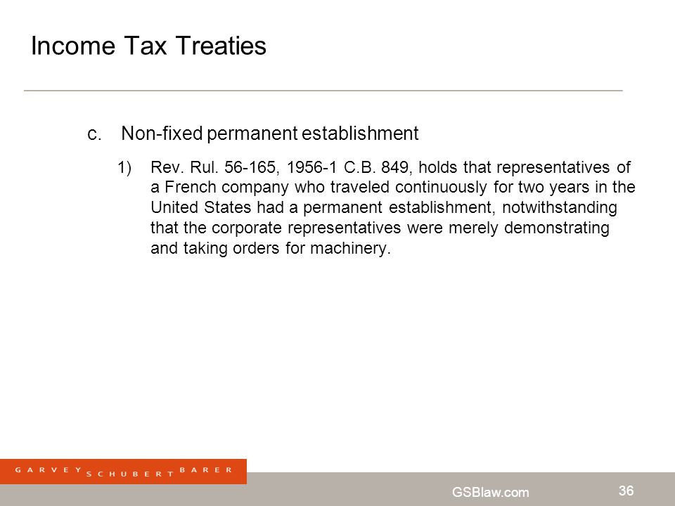 Income Tax Treaties Non-fixed permanent establishment