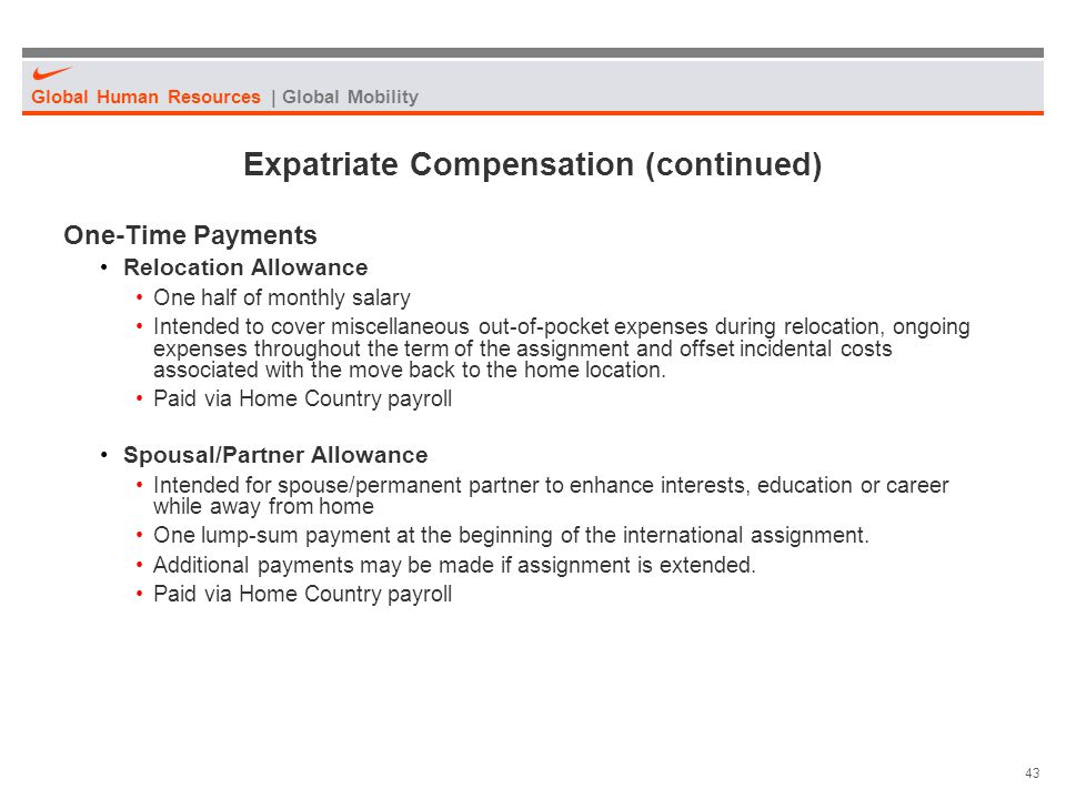 Expatriate Compensation (continued)