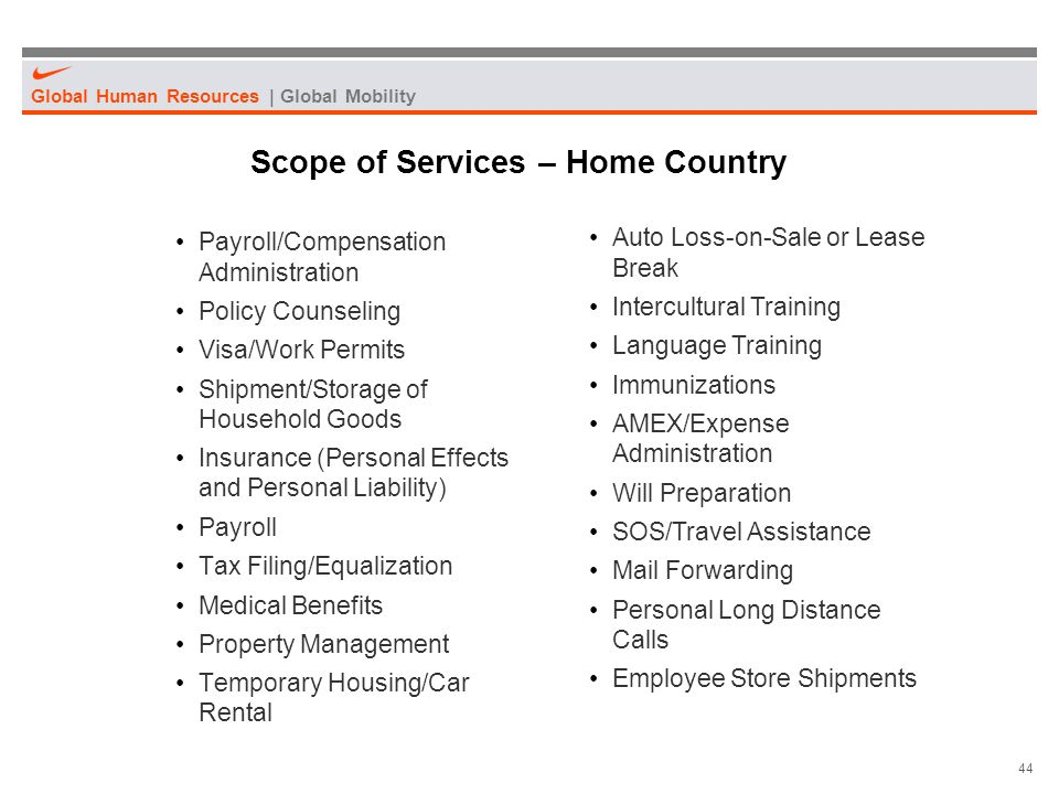 Scope of Services – Home Country