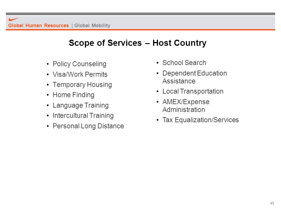 Scope of Services – Host Country