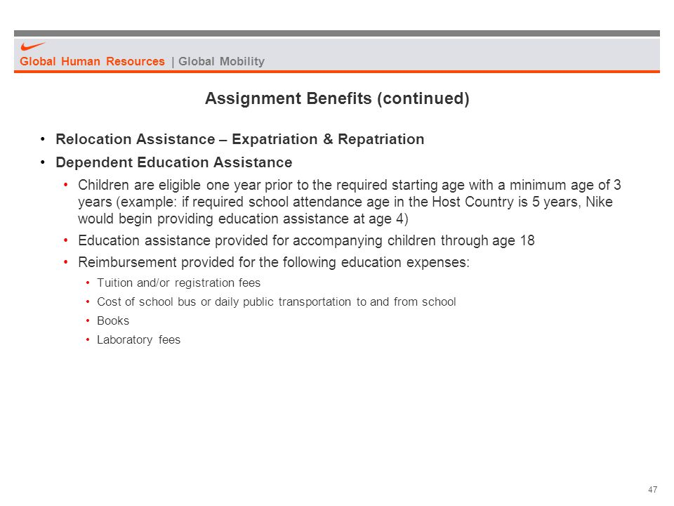 Assignment Benefits (continued)