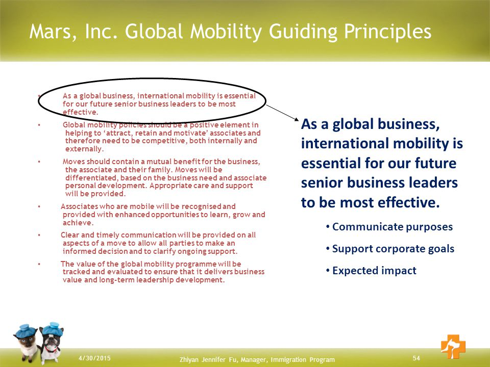Mars, Inc. Global Mobility Guiding Principles