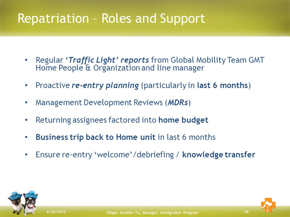 Repatriation – Roles and Support