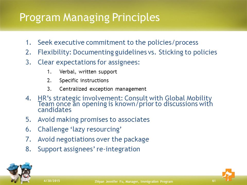 Program Managing Principles