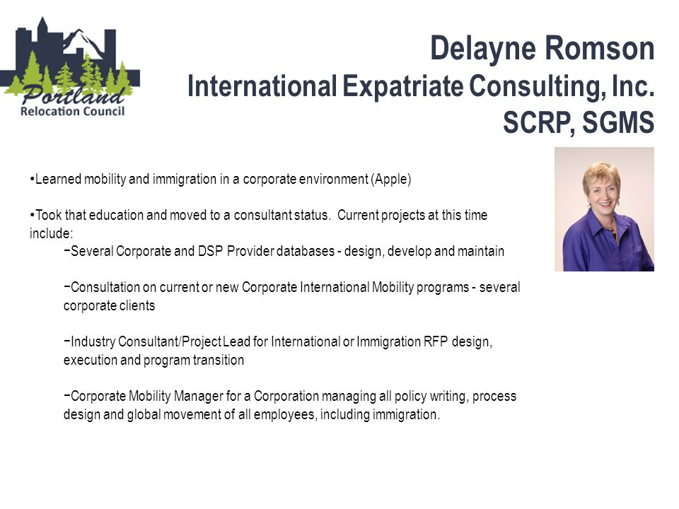 Delayne Romson International Expatriate Consulting, Inc. SCRP, SGMS