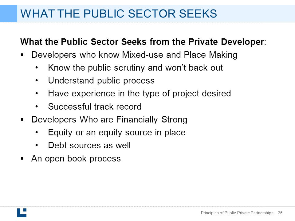 WHAT THE PUBLIC SECTOR SEEKS