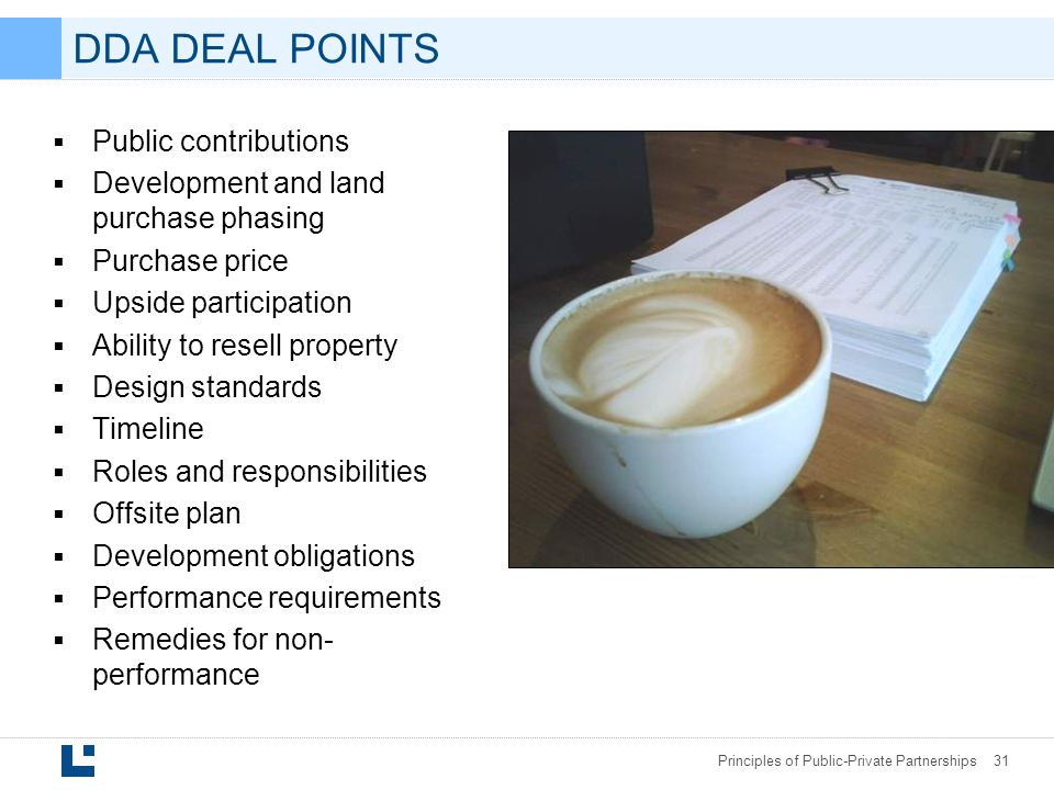 DDA DEAL POINTS Public contributions