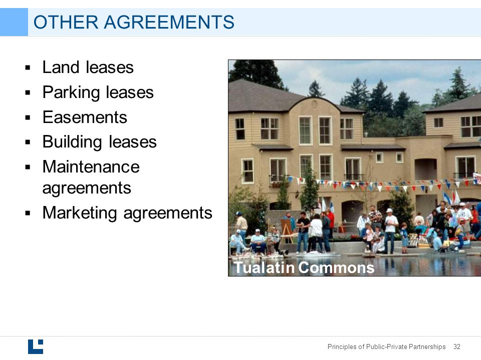 OTHER AGREEMENTS Land leases Parking leases Easements Building leases