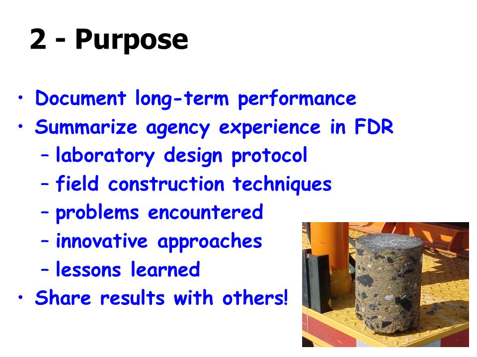2 - Purpose Document long-term performance