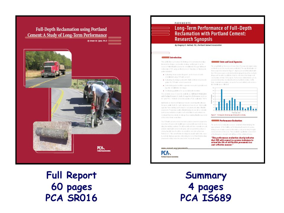 Full Report 60 pages PCA SR016 Summary 4 pages PCA IS689