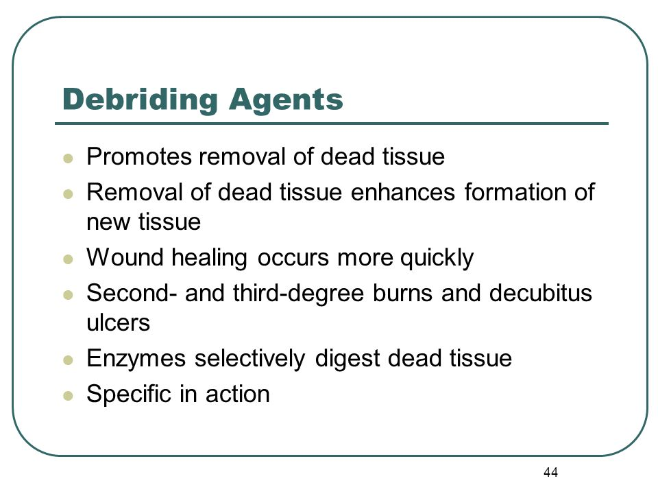 Debriding Agents Promotes removal of dead tissue