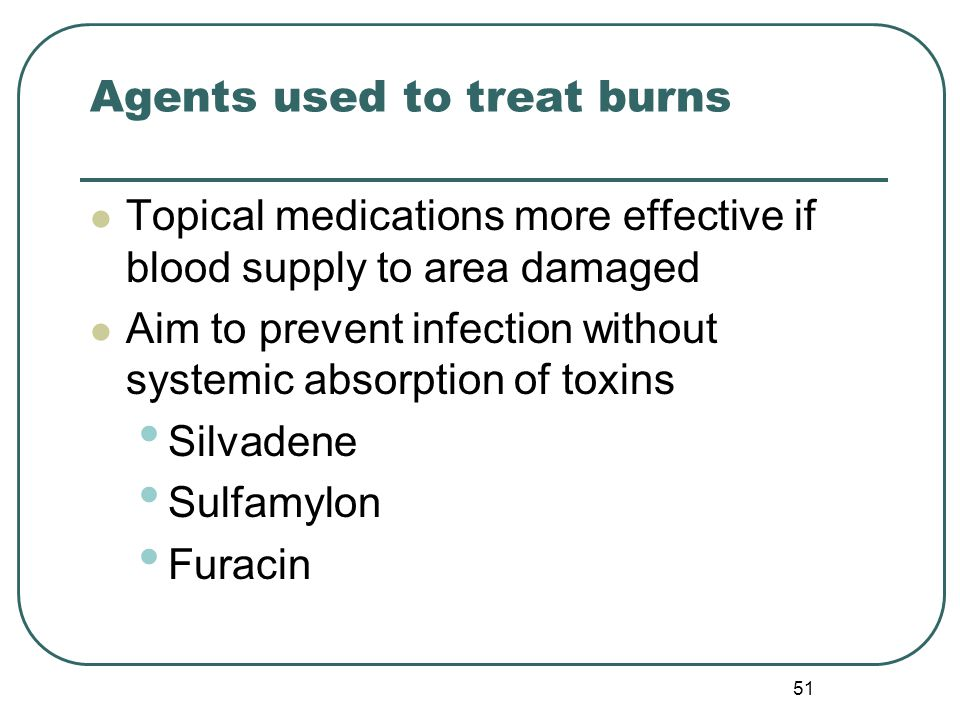 Agents used to treat burns