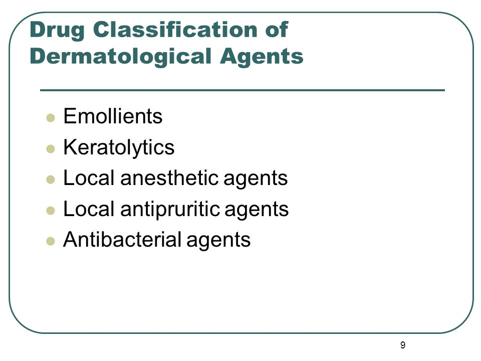 Drug Classification of Dermatological Agents