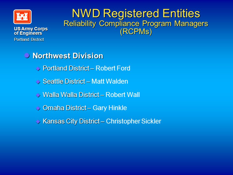 NWD Registered Entities Reliability Compliance Program Managers (RCPMs)