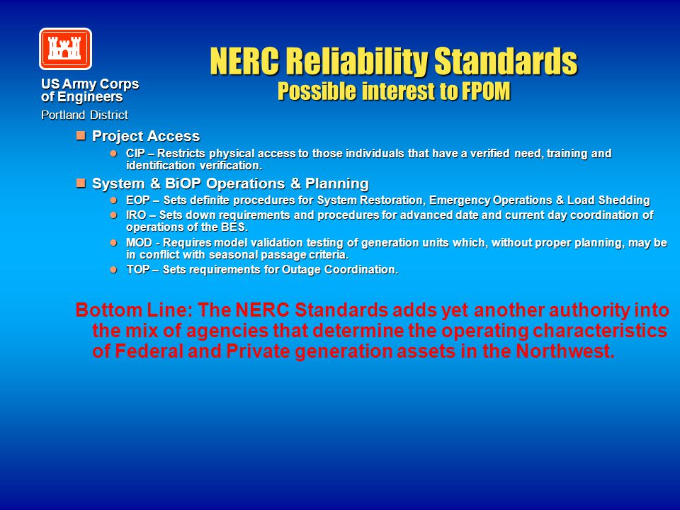 NERC Reliability Standards Possible interest to FPOM