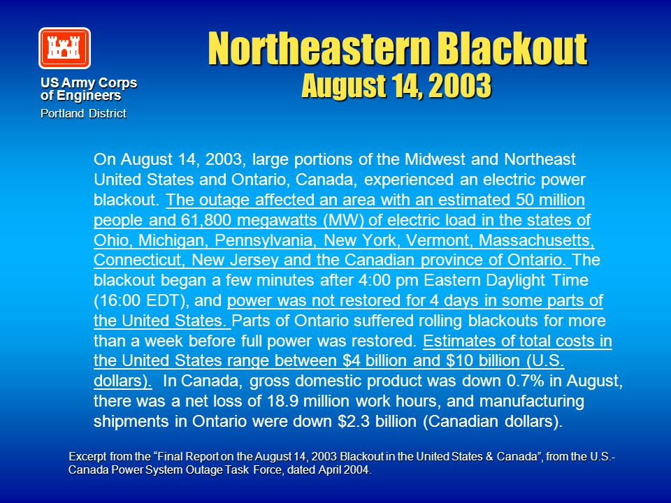 Northeastern Blackout August 14, 2003