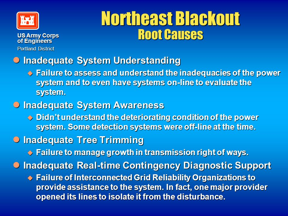 Northeast Blackout Root Causes