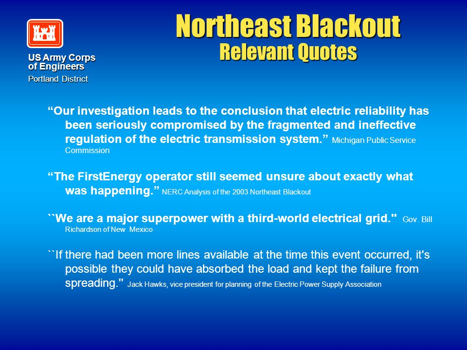 Northeast Blackout Relevant Quotes