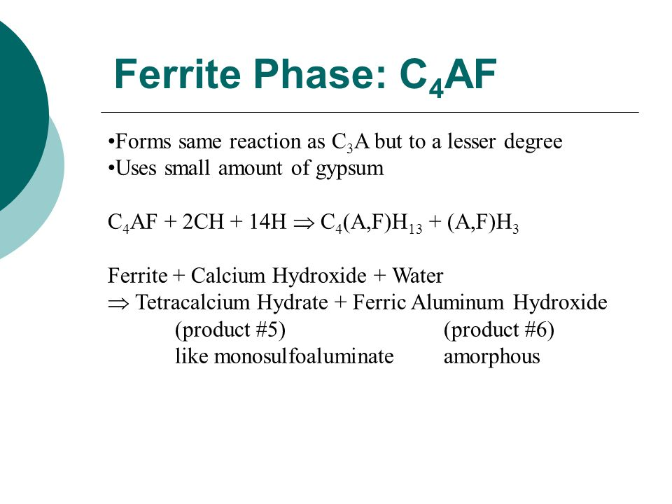 Ferrite Phase: C4AF Forms same reaction as C3A but to a lesser degree