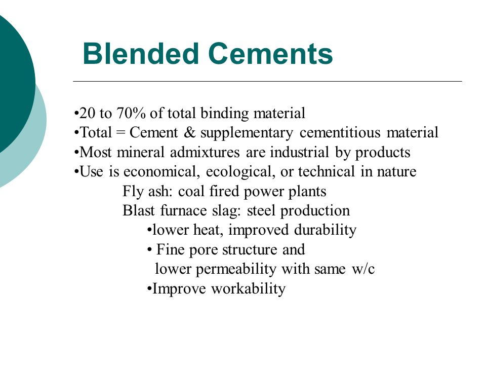 Blended Cements 20 to 70% of total binding material