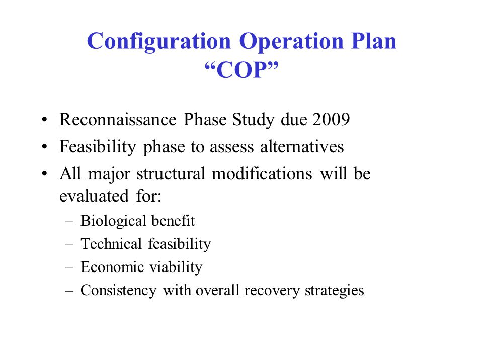 Configuration Operation Plan COP
