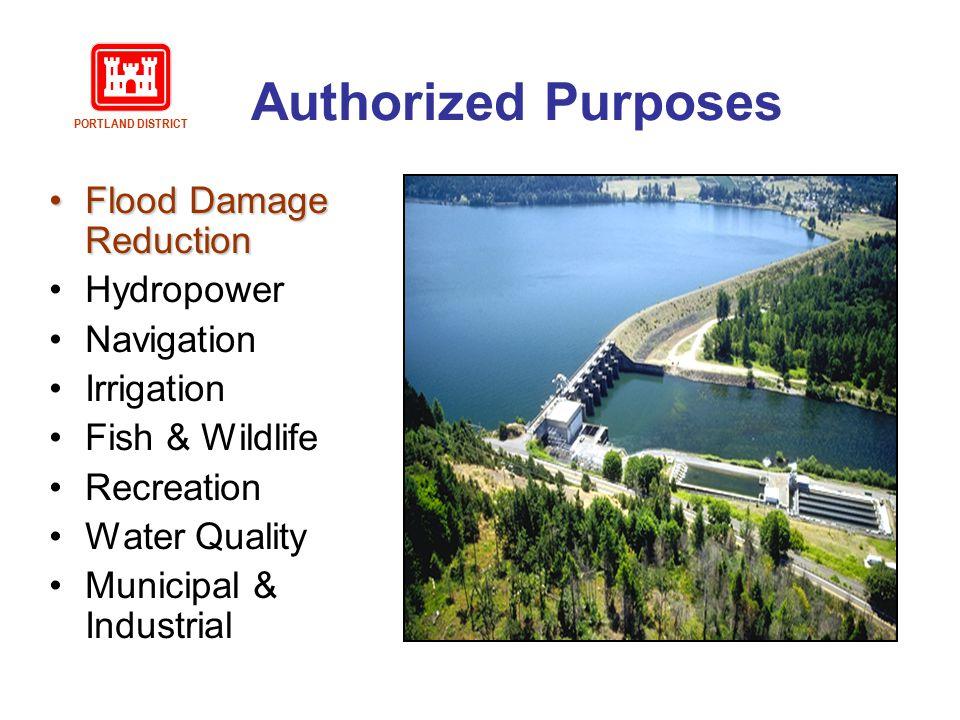 Authorized Purposes Flood Damage Reduction Hydropower Navigation