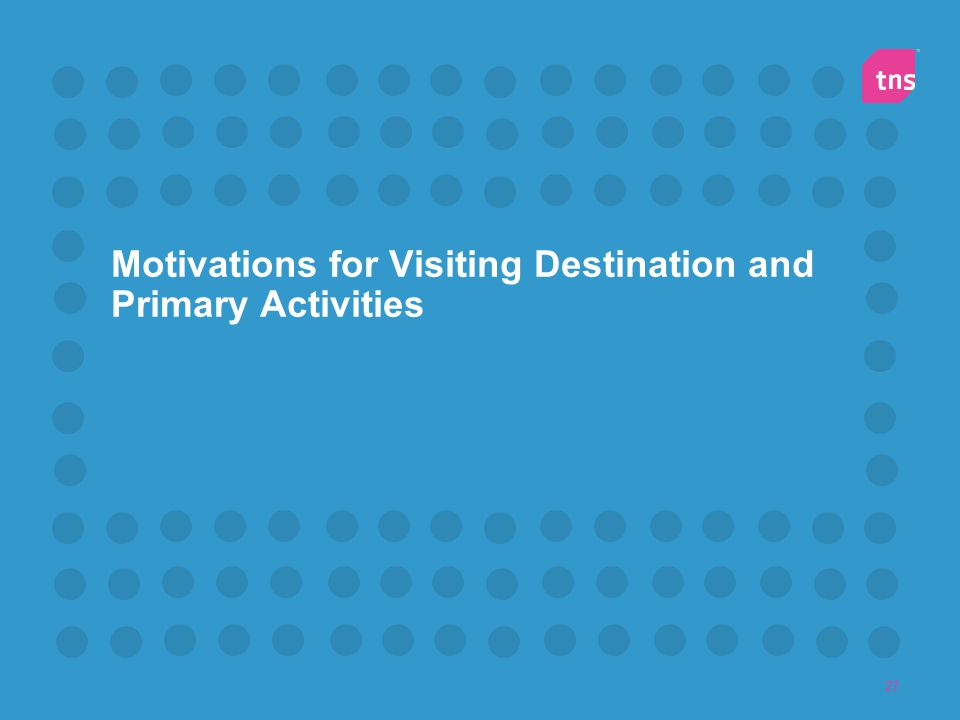 Motivations for Visiting Destination and Primary Activities