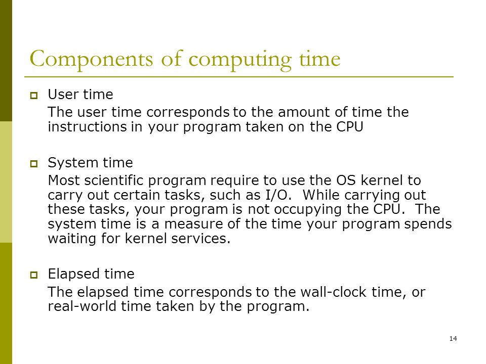 Components of computing time