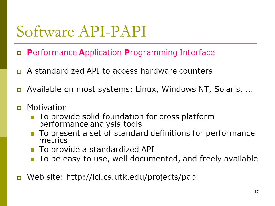 Software API-PAPI Performance Application Programming Interface