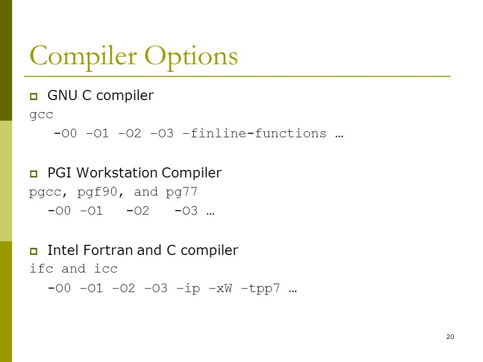 Compiler Options GNU C compiler gcc