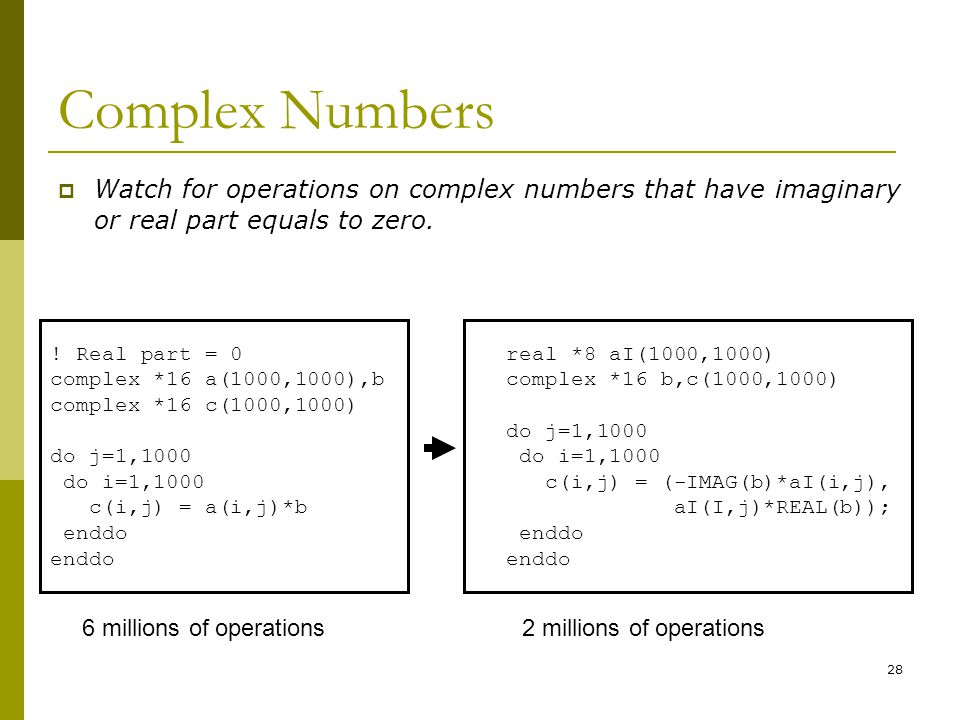 Complex Numbers Watch for operations on complex numbers that have imaginary or real part equals to zero.