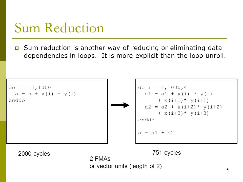 Sum Reduction Sum reduction is another way of reducing or eliminating data dependencies in loops. It is more explicit than the loop unroll.