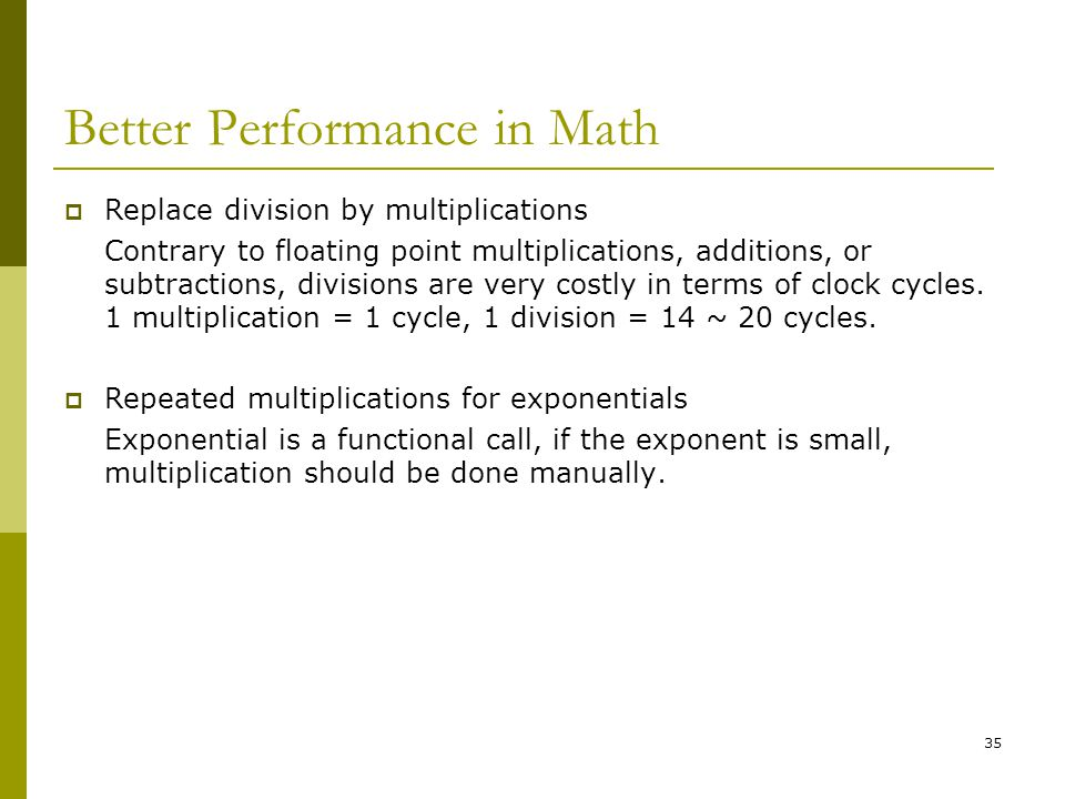 Better Performance in Math
