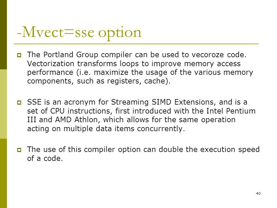 -Mvect=sse option