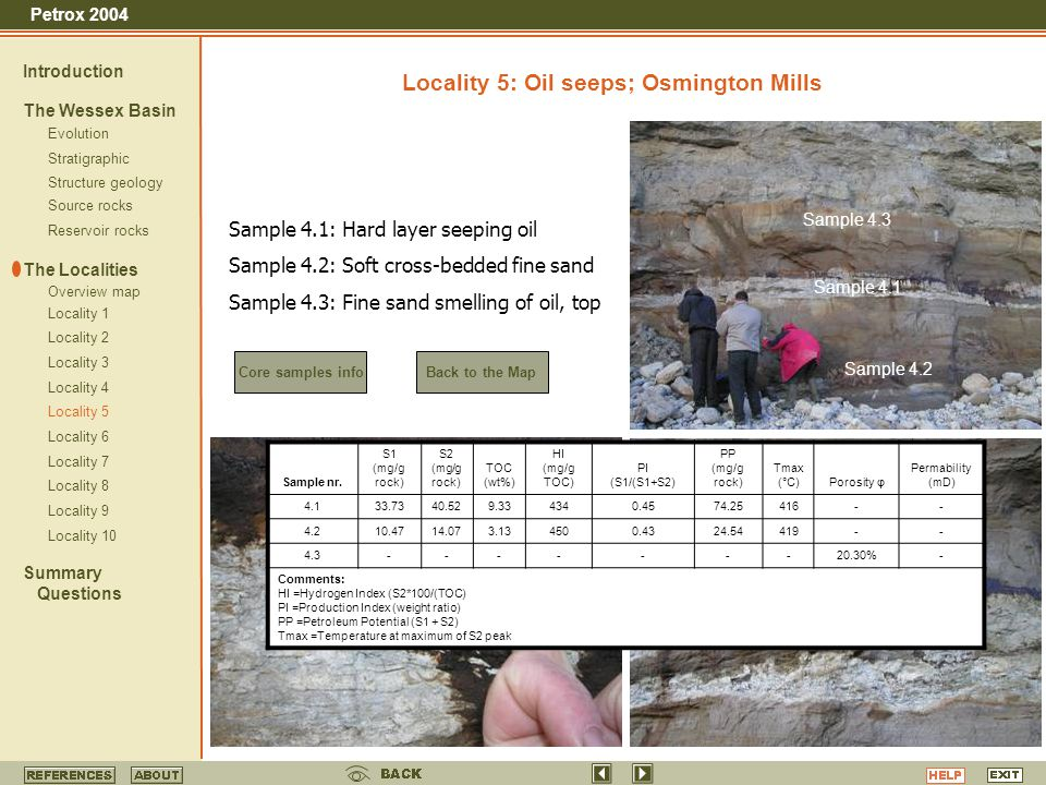 Locality 5: Oil seeps; Osmington Mills