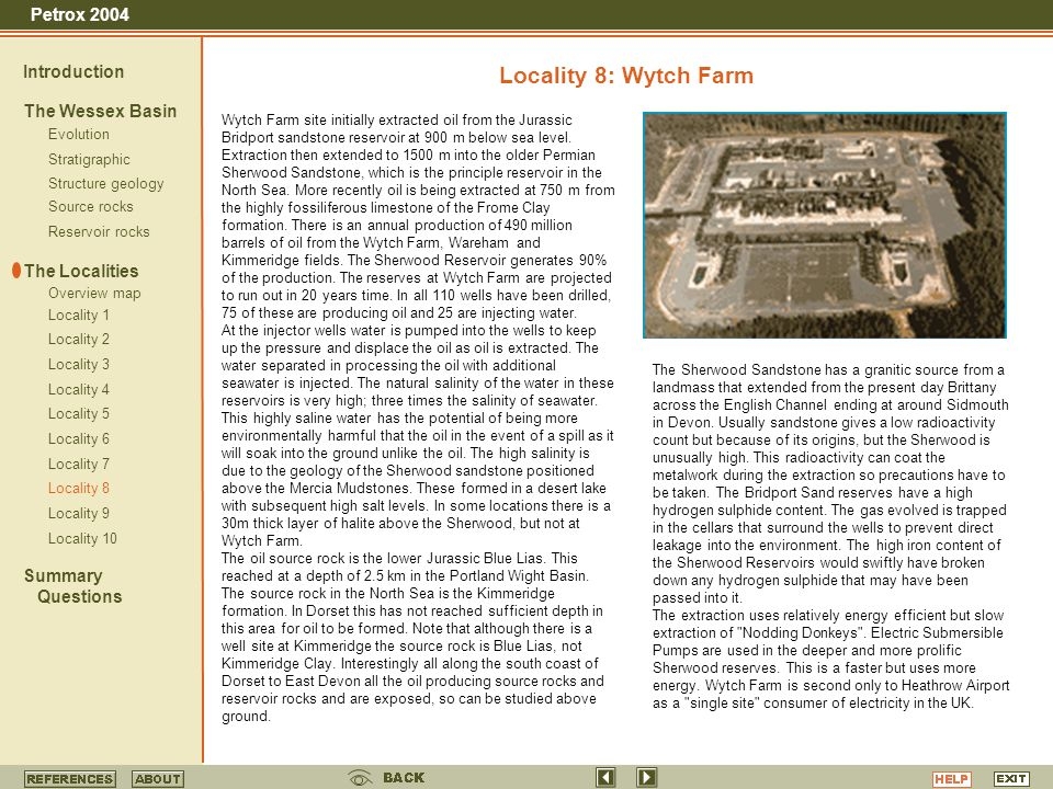 Locality 8: Wytch Farm Introduction The Wessex Basin The Localities