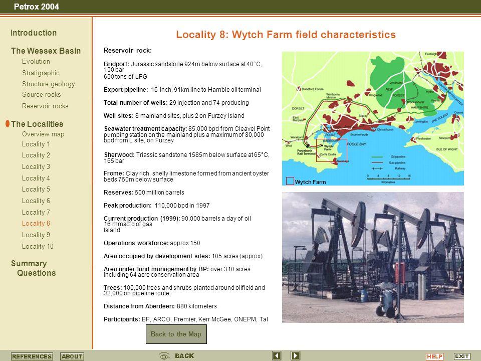 Locality 8: Wytch Farm field characteristics