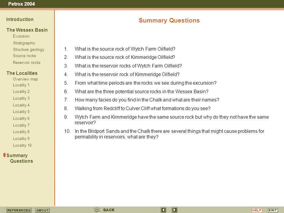 Summary Questions Introduction The Wessex Basin