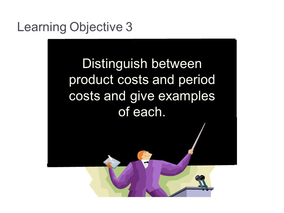 3-15 Learning Objective 3. Distinguish between product costs and period costs and give examples of each.