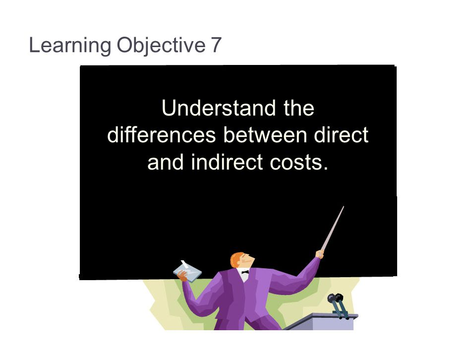 Understand the differences between direct and indirect costs.
