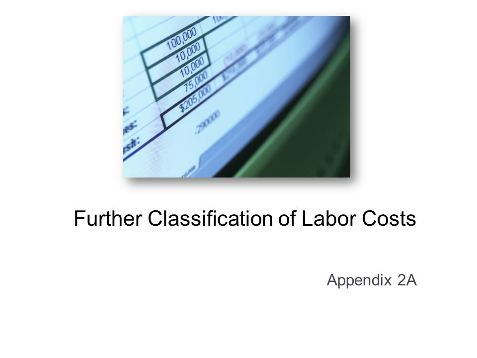 Further Classification of Labor Costs