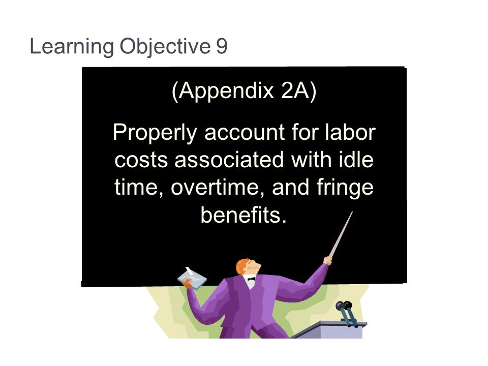 3-68 Learning Objective 9. (Appendix 2A) Properly account for labor costs associated with idle time, overtime, and fringe benefits.