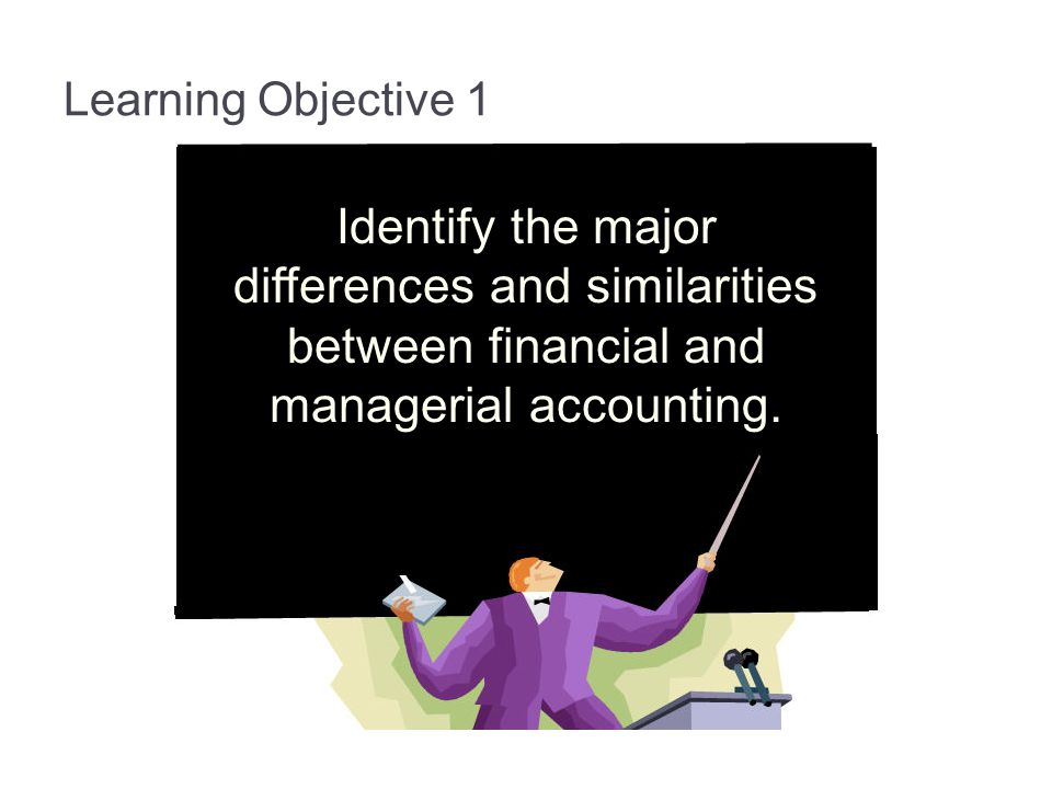 1-7 Learning Objective 1. Identify the major differences and similarities between financial and managerial accounting.