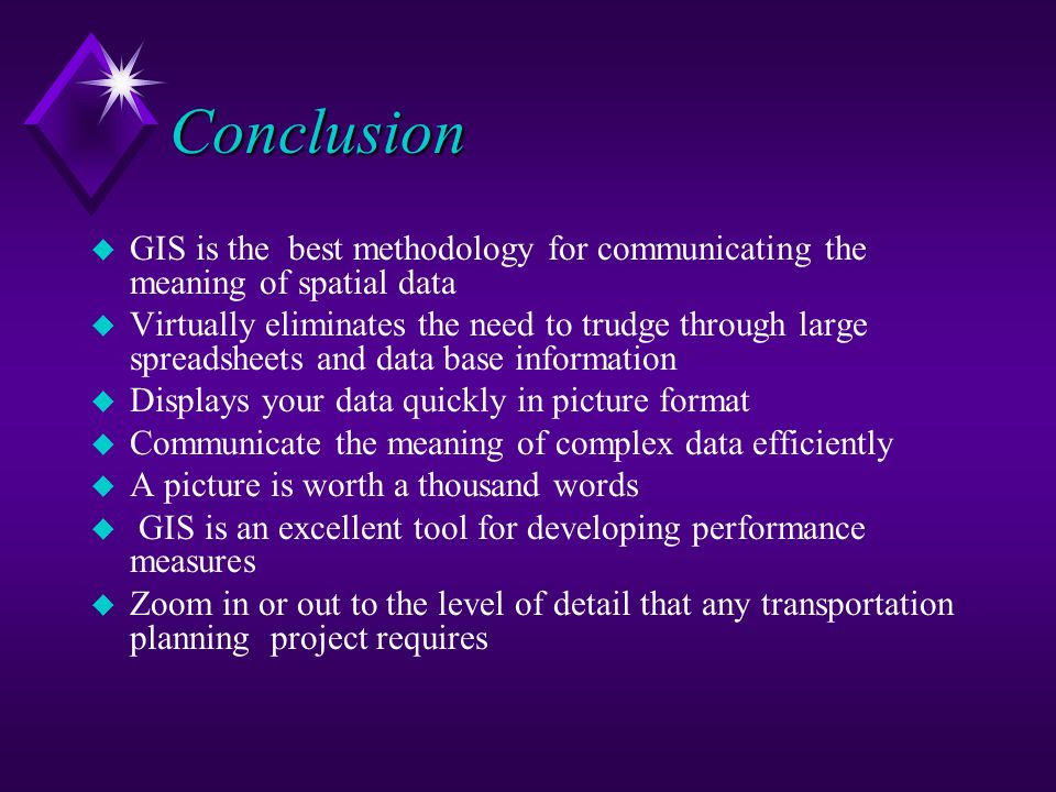 Conclusion GIS is the best methodology for communicating the meaning of spatial data.