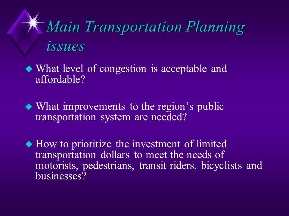 Main Transportation Planning issues