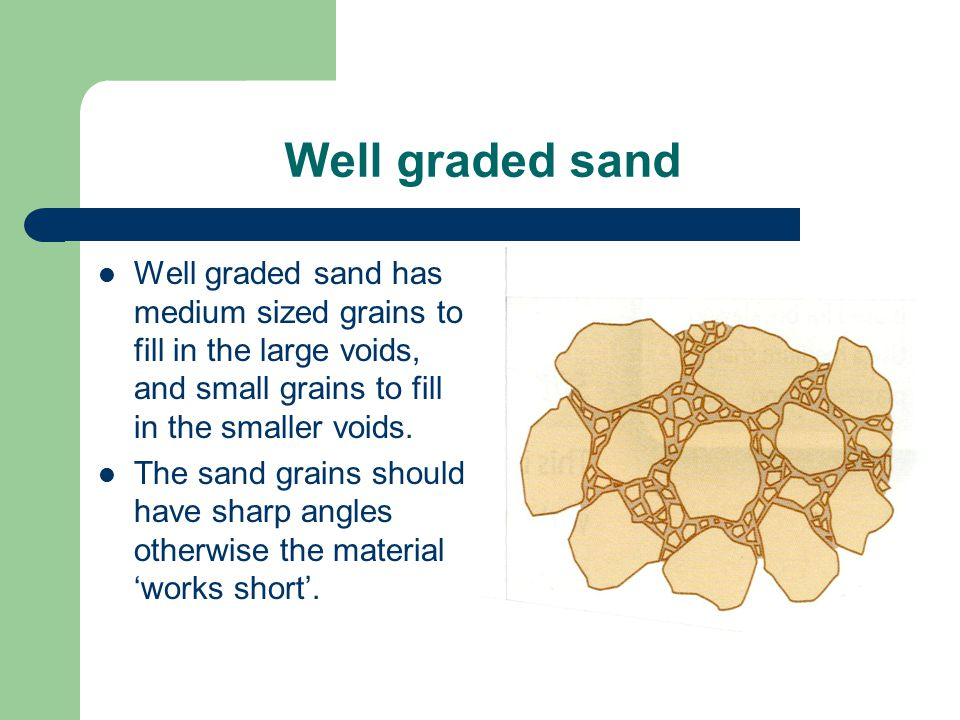 Well graded sand Well graded sand has medium sized grains to fill in the large voids, and small grains to fill in the smaller voids.