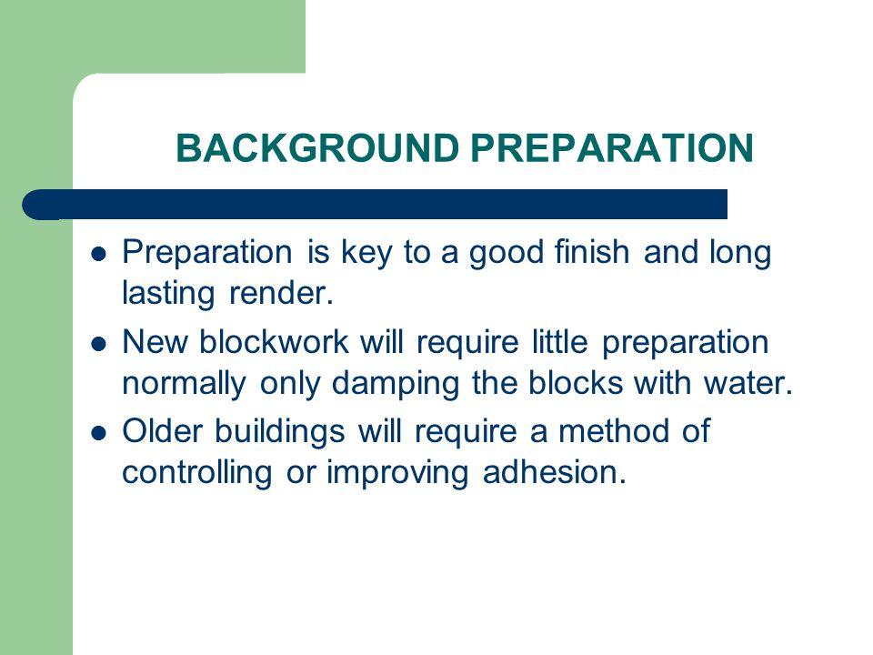 BACKGROUND PREPARATION