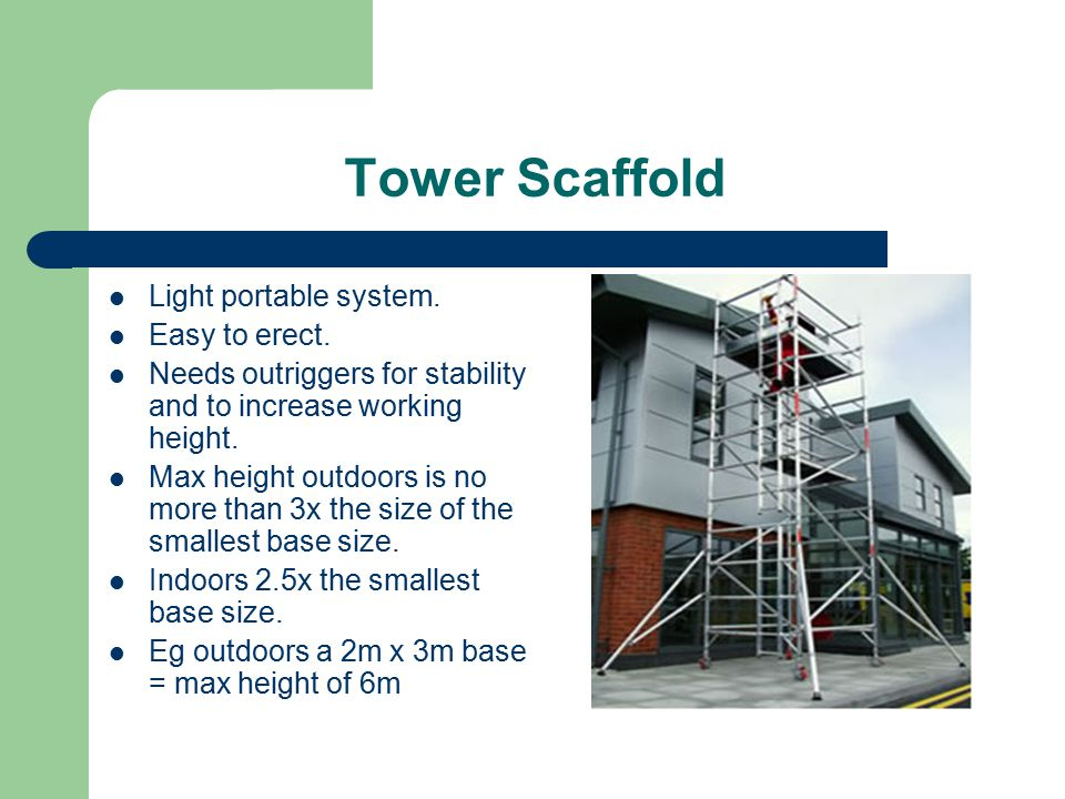 Tower Scaffold Light portable system. Easy to erect.