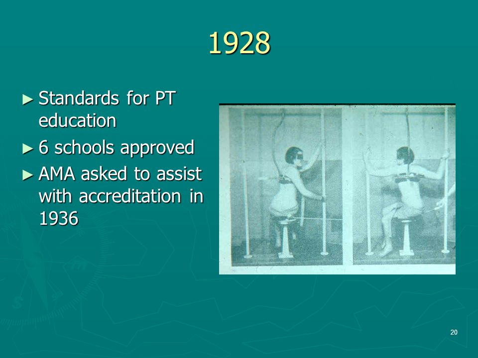 1928 Standards for PT education 6 schools approved