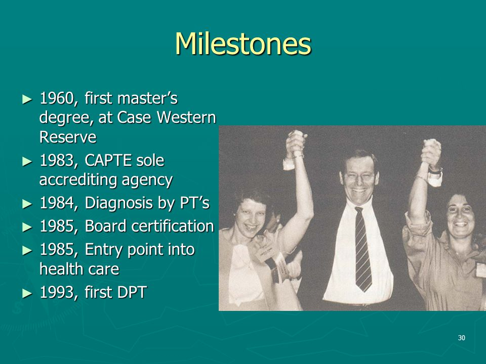 Milestones 1960, first master's degree, at Case Western Reserve